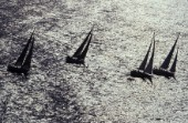 Aerial of Swan fleet in Porto Cervo