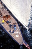Aerial view of the aft deck of J Class yacht Endeavour