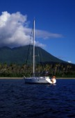 Yacht anchored in bay, Nevis, Caribbean