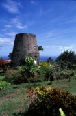 Old sugar mill and garden, Nevis, Caribbean