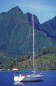 A cruising yacht at anchor in Raiatea, French Polynesia