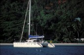 Catamaran anchored in the Seychelles.
