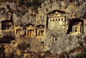 Ancient dwellings and temples in the cliff face, Aegean Coast, Turkey