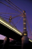 Detail of Albert Bridge on the river Thames, London