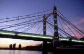 Albert Bridge at sunset on the river Thames, London