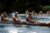 Two rowing fours race at Royal Henley Regatta on the river Thames, UK
