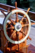 Detail of helm of classic yacht