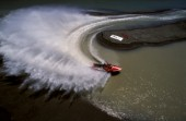 Jet boat racing a time trial in Australia