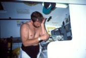 Pete Goss - Medical Operation Vendee Globe 96/7 Injured Pete Goss operating on his own arm during the Vendee Globe