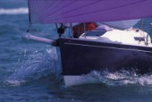 Bow detail of J80 racing  boat sailing down wind under asymmetric spinnaker