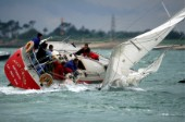 Sail yacht Ocean Crawler broaches in stong winds causing her to veer out of control and crew to hang on tight