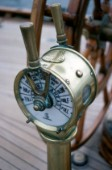 Detail of engine telegraph on classic yacht