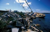 A superyacht lies on the rocks a mid remains after the 1996 hurricane in St Maarten