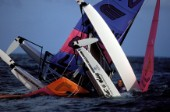 Two Hobie Cats collide and capsize