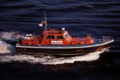 A lifeboat speeding to the rescue