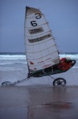 Land yachting on wet sand