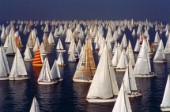 The fleet becalmed at the start of Barcolana 2006 - the worlds largest yacht race