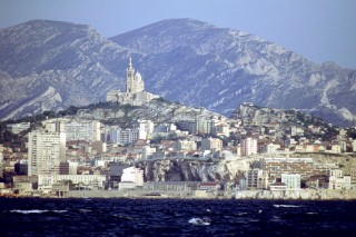 View of town on the Itlian Riviera on the Mediterranean with the Alps  behind