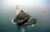 Aerial view of the lighthouse on the Fastnet rock in the Irish Sea