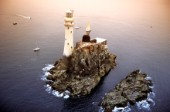 Aerial view of the Fastnet lighthouse in the Irish Sea