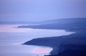 Aerial view of the Isle of Wight coast at dusk