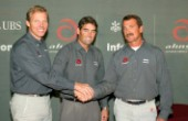 Geneve Suisse 24 November 2003. Presentation in Geneve of the Alinghi Team  Defender of the netx Americas Cup 2007. From left Jochen Schuemann, Russel Coutts and Peter Holberg. Americas Cup 2007 Valencia Announcement