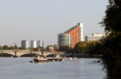 A view of the Putney Wharf development at Putney Bridge, London