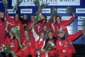 Cape Town South Africa - Volvo Ocean Race 2001/2002. 31 10 2001 Amer Sports Too all female crew celebrating on stage .