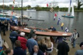 The official river launch of the restored Thames A-Rater Ulva owned by professional racing sailor and classic yacht enthusiast Ossie Stewart.