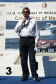 30/5/04 Valletta, Malta: Race organiser Martin opens the prize giving for the first race of the Powerboat P1 series