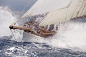 Classic yacht Lady Anne in rough seas.