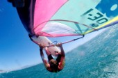 Onboard with windsurfer mid air