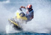 Jet Skier turning sharply