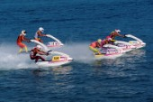 Fleet of Jet Skiers at start of race
