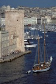 Yacht entering Marseilles harbour, France