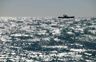Key West Race Week 2005. Rough texture seascape with waves. RIB solitude.