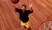 Oracle software CEO Larry Ellison playing basketball on the aft deck of his superyacht Katana
