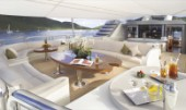 Awning over aft deck of superyacht