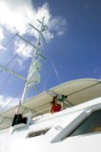 Mast and awning on superyacht