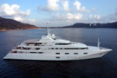 Luxury Superyacht Princess Mariana at anchore in a bay
