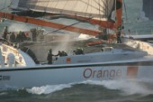 Arrival of maxi cat Orange skippered by Bruno Peyron in Brest at the end of the successful Jules Verne 2005 setting a new round the world record time of 50 days, 16 hours, 20 mins and 4 secs!
