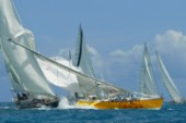Antigua Sailing Week 2003. Swan 65 Kings Legend collides with World of Tui, ripping out backstays and dismasting her.