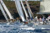 Antigua Sailing Week 2005. Left to right:SWELL. SATIKA. PEARL FISHER