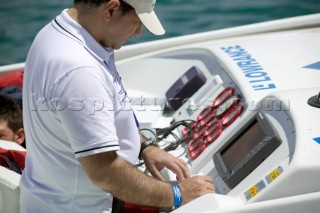 P1 Malta 2005. Instruments, wheel and controls onboard a racing powerboat