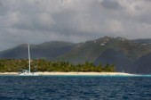 Jost Van Dyke Island - British Virgin Islands- . Green Cay and Little Jost Van Dyke with boats -. Cruise