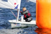 Kiel - Germany - 23 june 2005 KIELER WOCHE - day 2 of the Olympic Class regatta started with a postponement due to lack of wind. Racing began late in the afternoon i 8 knots of breeze. Racing continues until Sunday.Natalia Ivanova, RUS, Laser Radial.