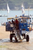 The motorised landing stage at Salcombe sponsored by International Paints which allows passengers to transfer to the ferry from the sandy beach at all states of the tide