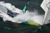 Volvo 70 ABN AMRO 1 of the Volvo Ocean Race sailing fast in rough conditions
