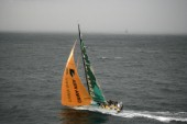 The Volvo Ocean Race fleet head head out to sea at the start of leg one from Vigo, Spain. ABN  AMRO TWO