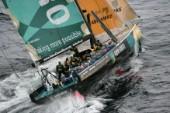 The Volvo Ocean Race fleet head head out to sea at the start of leg one from Vigo, Spain. ABN  AMRO ONE